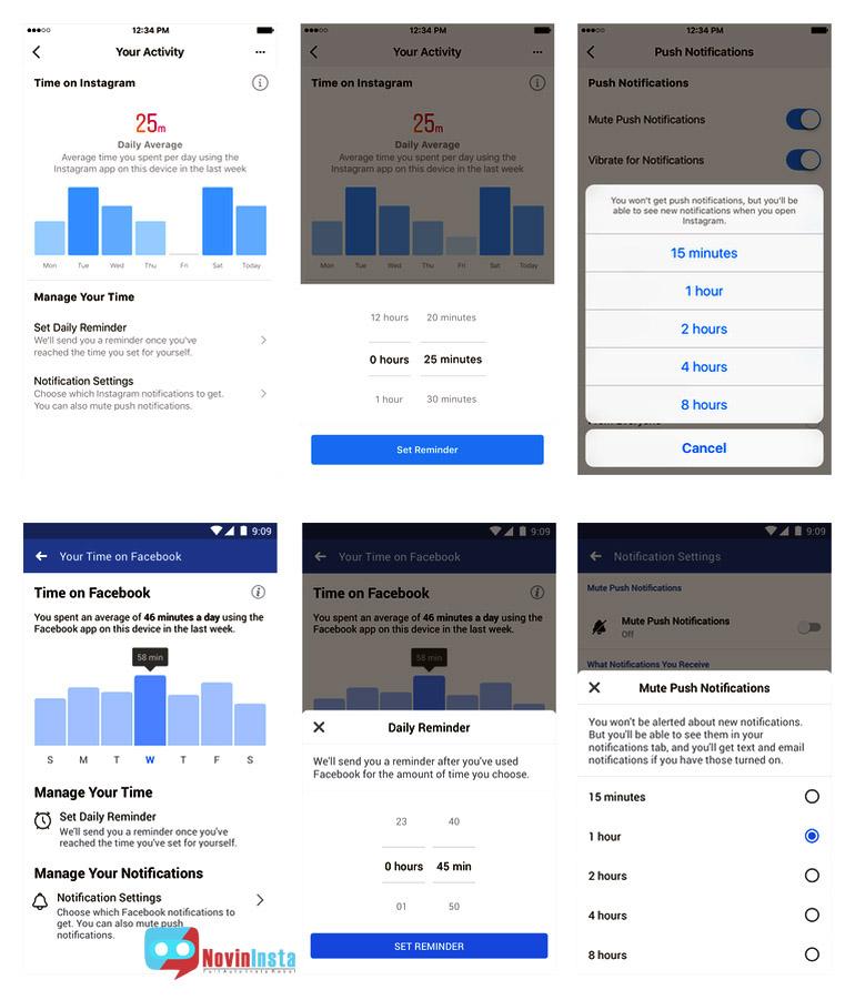 مدیریت زمان در اینستاگرام , امکان مدیریت صحیح زمان در اینستاگرام و فیس بوک